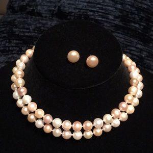 "Jewelry - 14K 32"" 10-11MM Cultured Pearl Strand & Earrings"